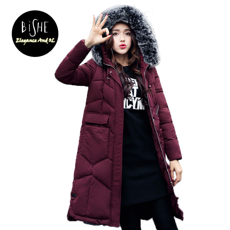 BiSHE New 2017 Fashion Warm Winter Jacket Women Fur Thick Slim Female Jacket Winter Women Hooded Coat Down Parkas Long Outerwear bishe spring autumn winter new 2017 fur jean denim jacket winter blue women jacket coat with hooded long sleeves warm outwear
