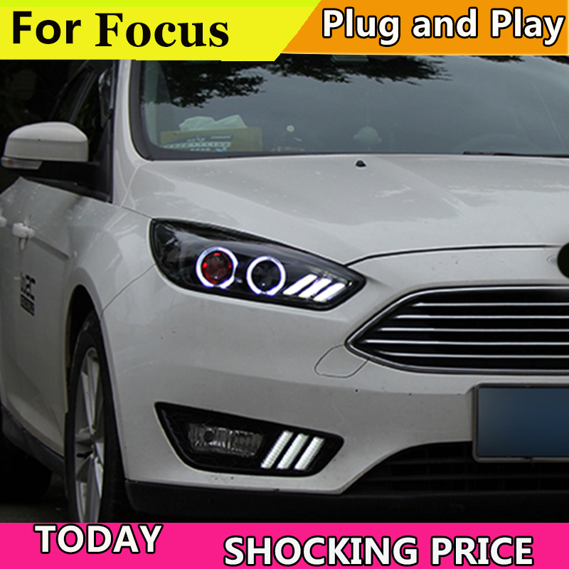 Voiture Style Chef Lampe Pour Ford Focus MK3 Phares 2015-2018 LED Phare O Ange Yeux DRL En Mouvement Clignotants