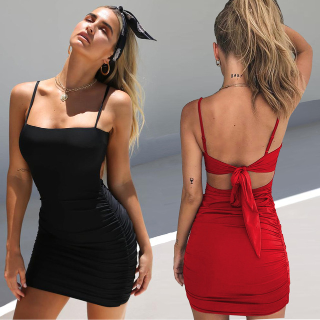 Lossky Dress Summer Women's 2018 Sexy Straps Strapless Straps Folds Hip Dress Women's Mini Round O-Neck Sleeveless