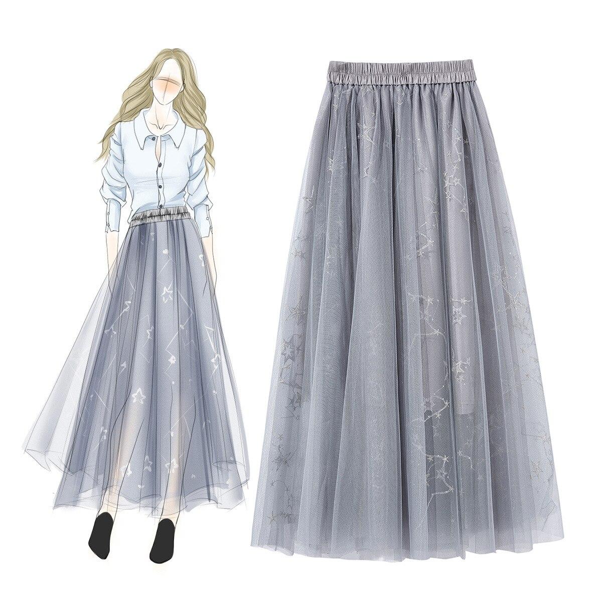 Boutique de mode vêtements pour femmes printemps été nouveau fil de maille taille élastique pendule jupe de fée