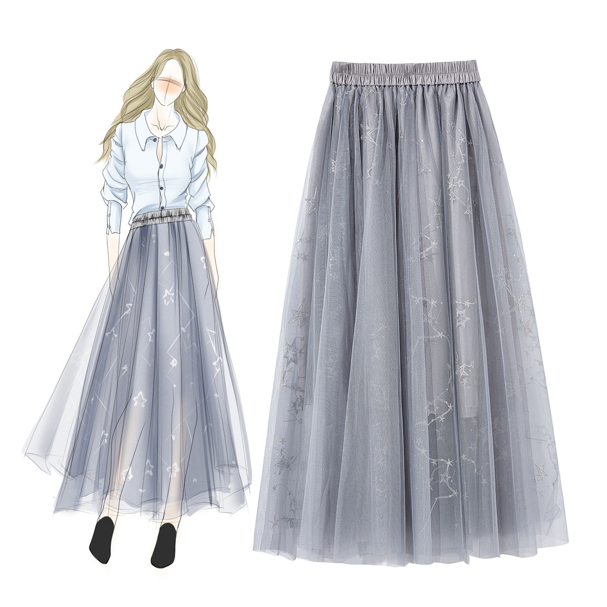 Fashion Boutique Women's Clothes Spring Summer New Mesh Yarn Elastic Waist Pendulum Fairy Skirt Price $65.00