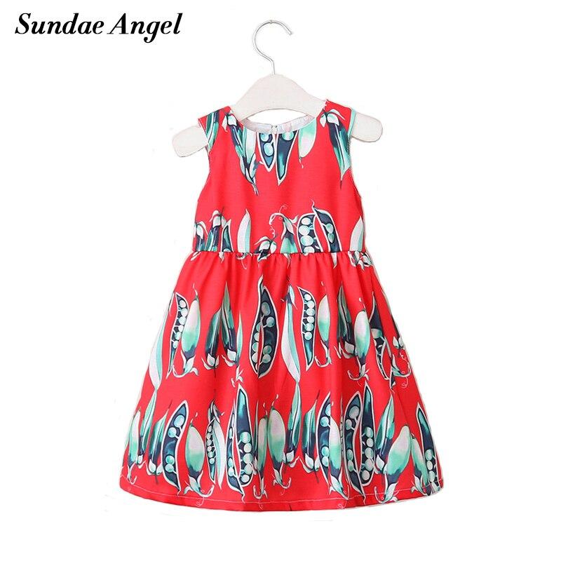 Sundae Angel Child girls dresses Summer Peas Pattern print girl dress Sleeveless Round Neck for Children dresses 2-9 Year женская куртка every girl is an angel xz123