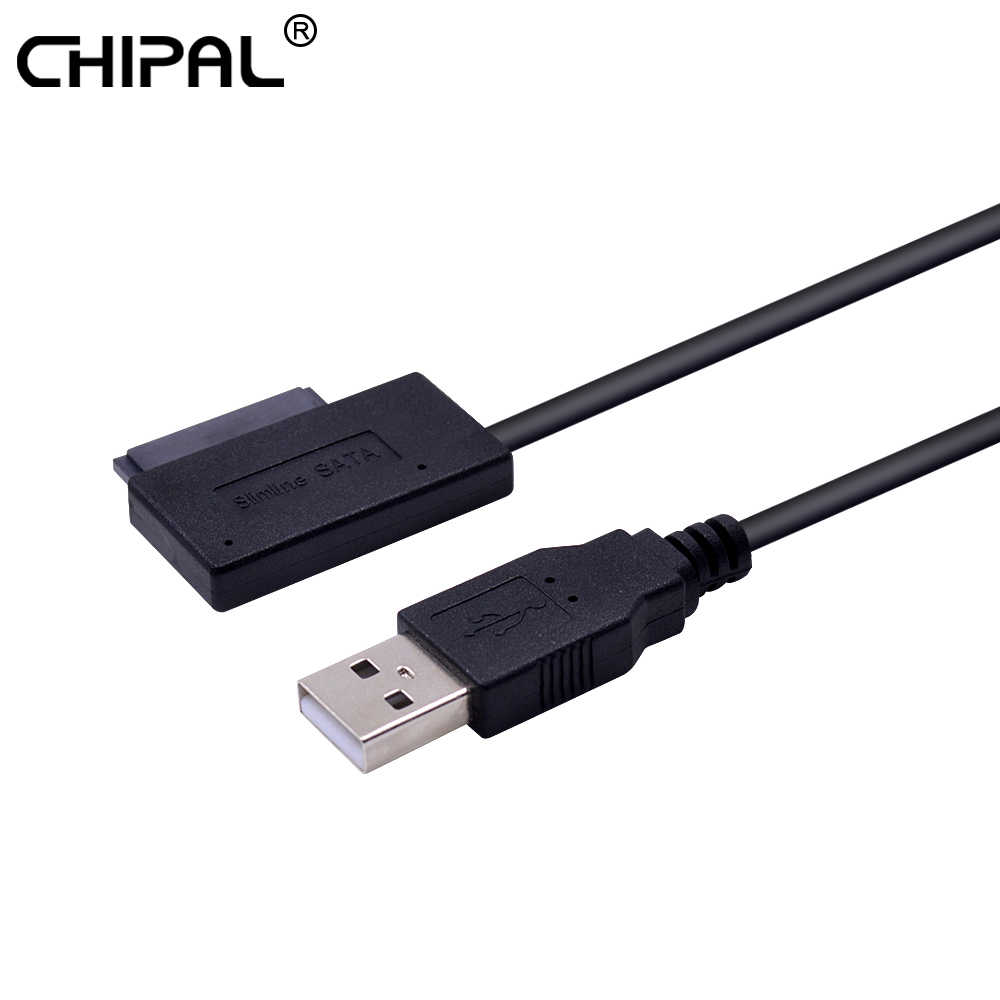 CHIPAL USB 2,0 zu Mini Sata II 7 + 6 13Pin Adapter Konverter Kabel für Laptop CD/DVD ROM slimline Stick Konverter HDD Caddy