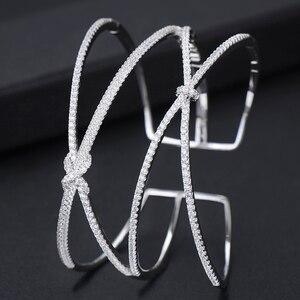 Image 4 - GODKI אישית רחב יוקרה 2 ב 1 Bowknot צמיד לנשים חתונה מלא מיקרו זירקון קריסטל דובאי צמיד צמיד 2019