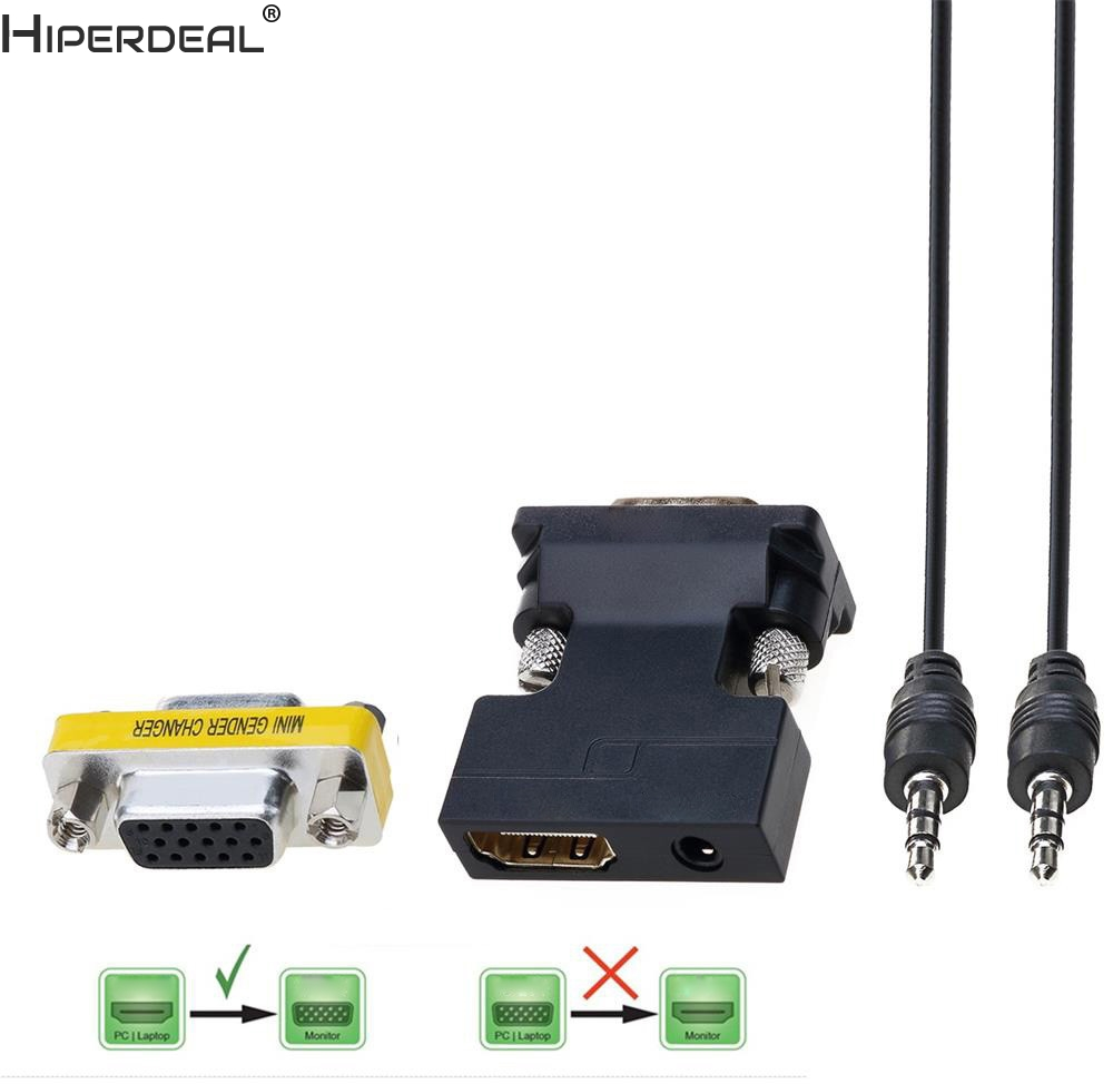 HIPERDEAL 1080P Female HDMI to VGA Male Converter Adapter Dongle with 3.5mm Stereo Audio Oct27