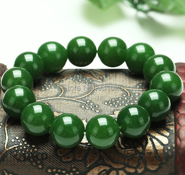 8-20mm beautiful Real Green Natural Stone Beads bracelet stretch Elastic Link Bracelet 7.5 Inch Fashion jewelry