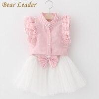 Bear Leader Girls Dress 2017 Cute Princess Dresses Summer Style Pink Stripend Sleeveless Shirt+Mesh Dress 2Pcs for Girls Clothes