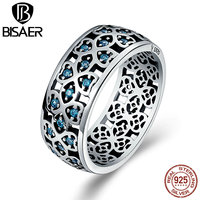 BISAER Authentic 100 925 Sterling Silver Blue Clearly CZ Sweet Clover Wide Face Rings Fashion Wedding
