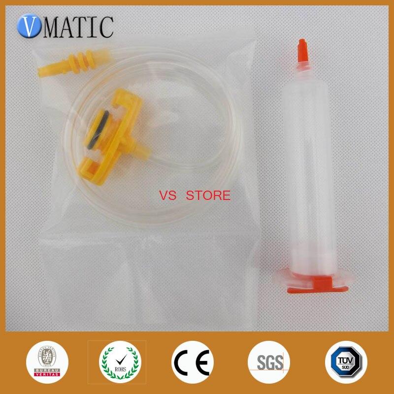 Free Shipping 10 Sets Glue Dispensing Pneumatic Syringe 30cc ml Barrel With Adapter Piston Syringe Stopper