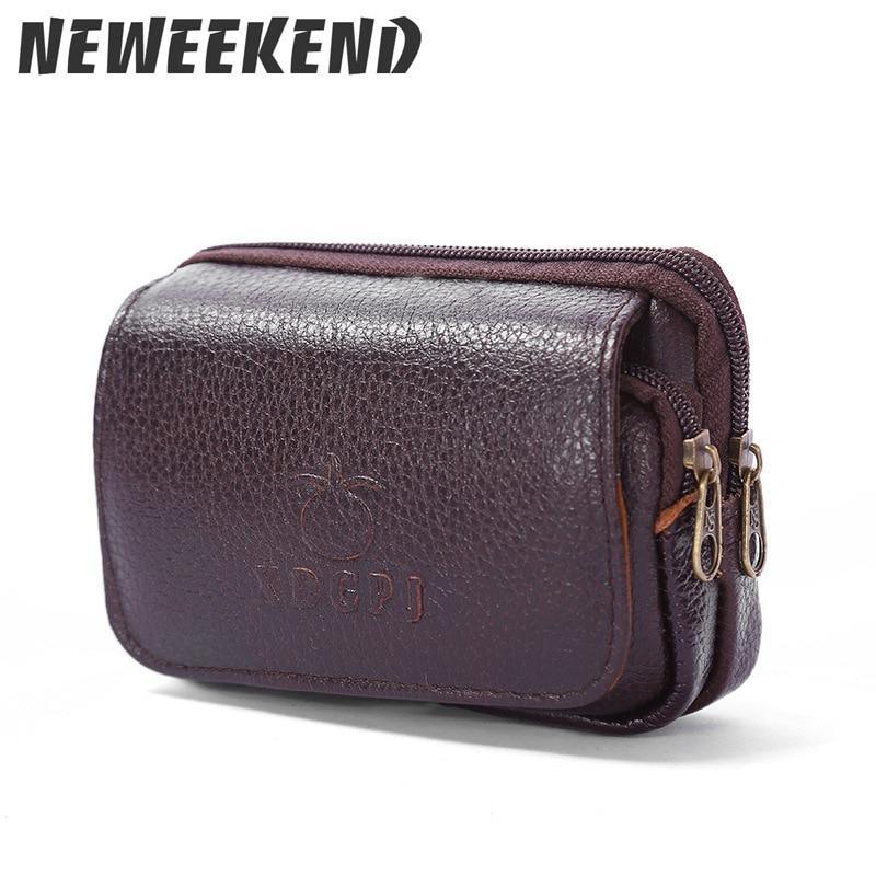 The Men's Genuine Leather Double Zipper Pocket Mobile Phone Pocket Bag Pocket Belt Waist Pack Fanny Bum Bag Black Brown B09 zipper pocket bum bag