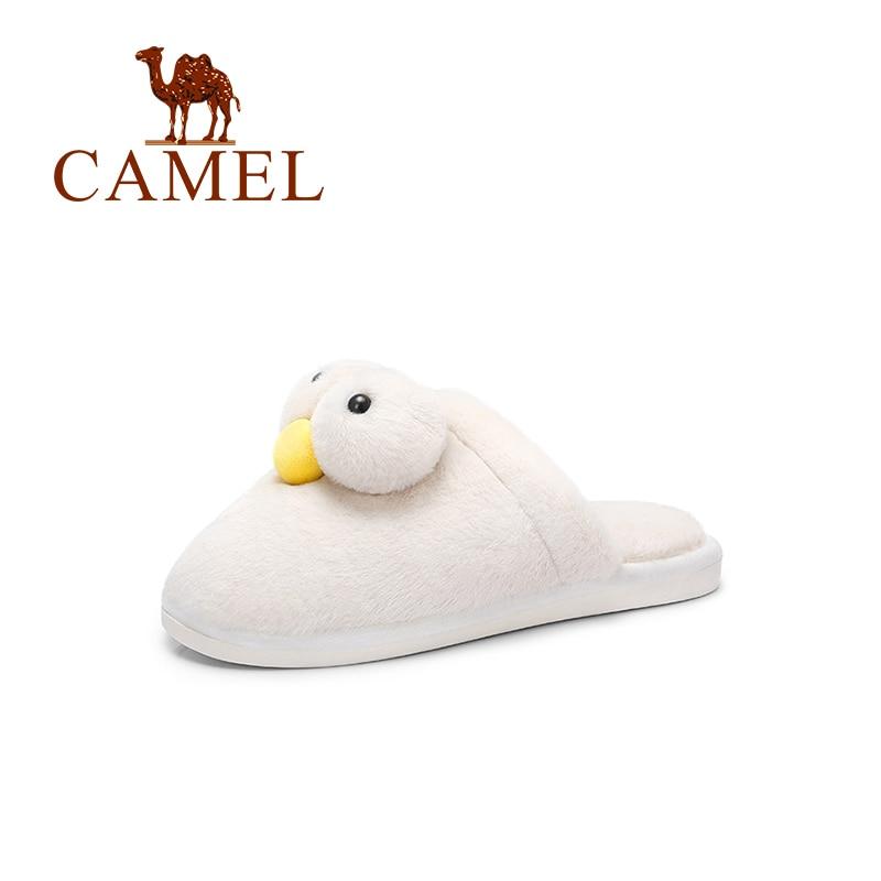 CAMEL nueva moda de invierno Casual Casa de dibujos animados zapatillas mujeres abrigadas Sliders mujeres Flip Flop mullido piel sintética plana PVC suela