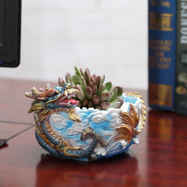 Creative Chinese Style Resin Flowerpot Dragon Shape Succulent Plants Nursery Pots Home Furnishings Ornament Garden Bonsai