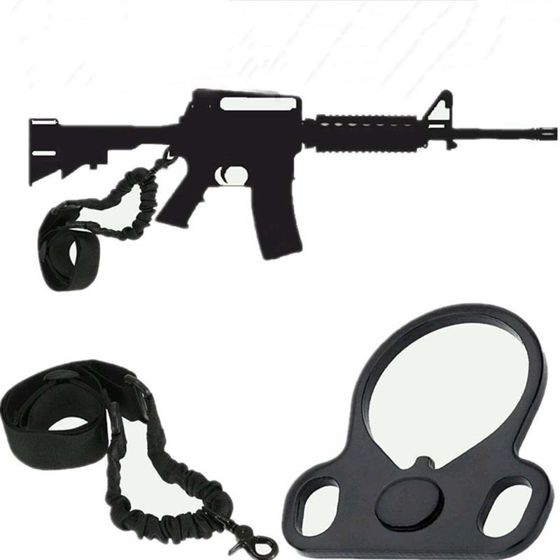 Magorui AR15 Tactical Single Point Sling Strap + Dual Plate Mount Bungee End Plate Mount Adapter