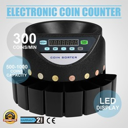 VEVOR Automatic Electronic Coin Counter Cash Currency Counting Machine for Euro Coins Drawers