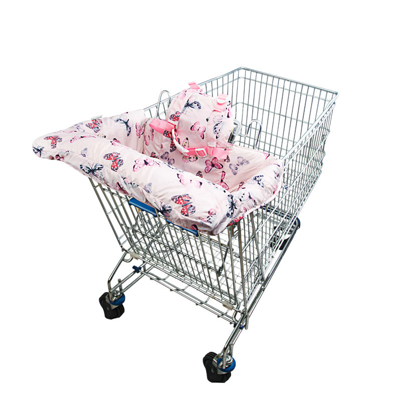 ФОТО 2016 popular fashion 100% 2-in-1 useful portable cotton baby shopping cart mat  shopping cart cover high chair cover