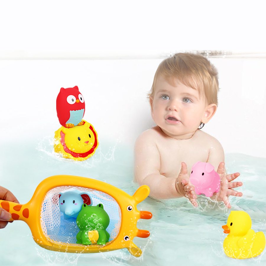 Bath Toy The Cheapest Price Water Baby Bath Toys Rubber Duck Bathroom Toys Floating Fish For Kids Shower Mesh Toy Children 13-24 Months Classic Toys