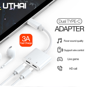 UTHAI C25 Type-C to 3.5mm Audio Adapter Charging 2in1 Converter For 3.5 Earphones Connector 2 USBC Extension Cable For Macbook
