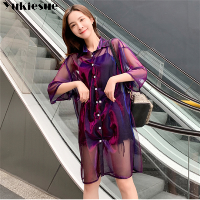 2019 summer women's shirt blouse for women blusas woman womens tops and blouses mujer lace mesh shirts ladie's top plus size 3