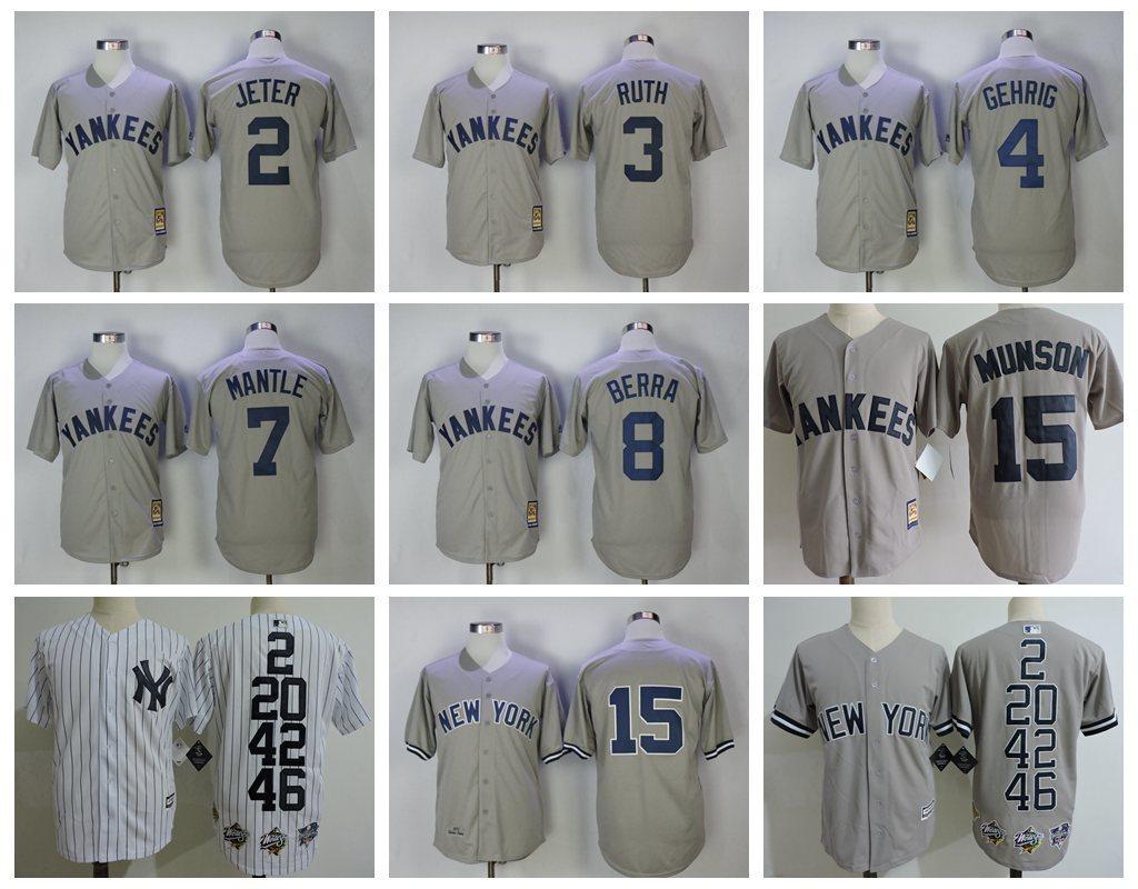 new style 11612 acd89 MLB Men's New York Yankees #2 Derek Jeter #20 #42 Mariano Rivera gehrig #46  Jerseys-in Baseball Jerseys from Sports & Entertainment on Aliexpress.com  ...