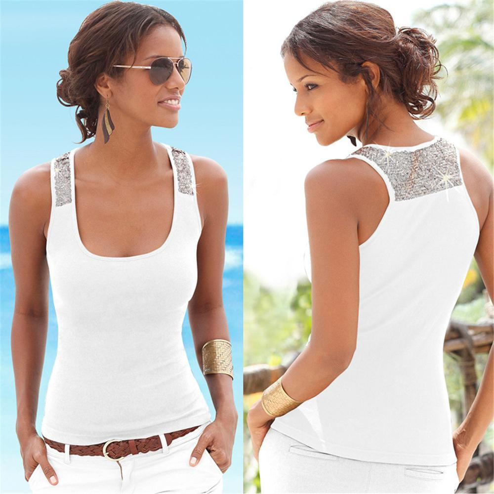 Women Casual Shiny Beads Solid Color Spring Summer New Tank Tops Women Sleeveless Round Neck T Shirt Ladies Vest Singlets