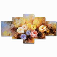 5 Pieces Modular watercolor Retro flower Canvas Print Posters Pictures Oil painting Wall art canvas Paintings Support Fram