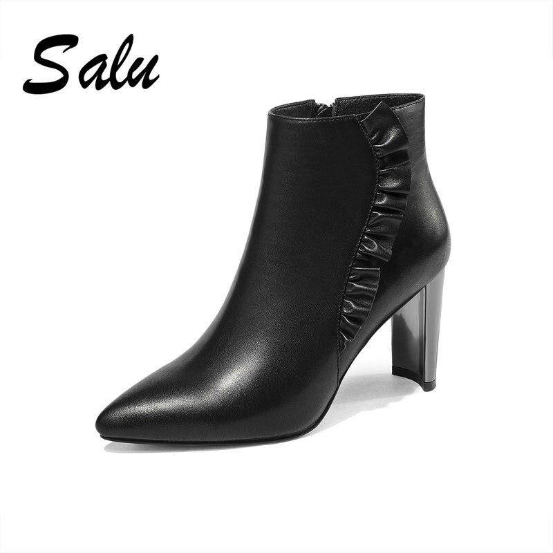 Main Bottes Noir Chaussures Véritable Cheville Hiver Court Botas Cuir Rond Zipper Bout En Femmes Salu iTPkuwOXZ