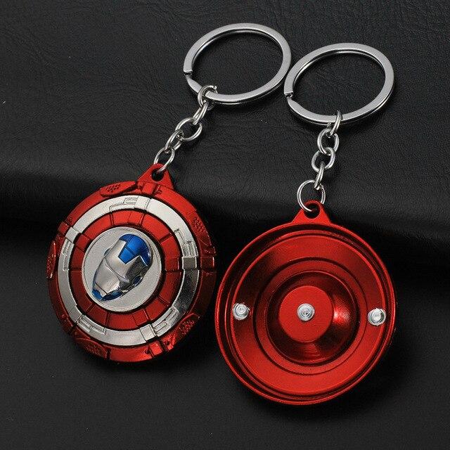 Брелок круглый крутящийся с логотипами героев Марвел и DS Comics 2
