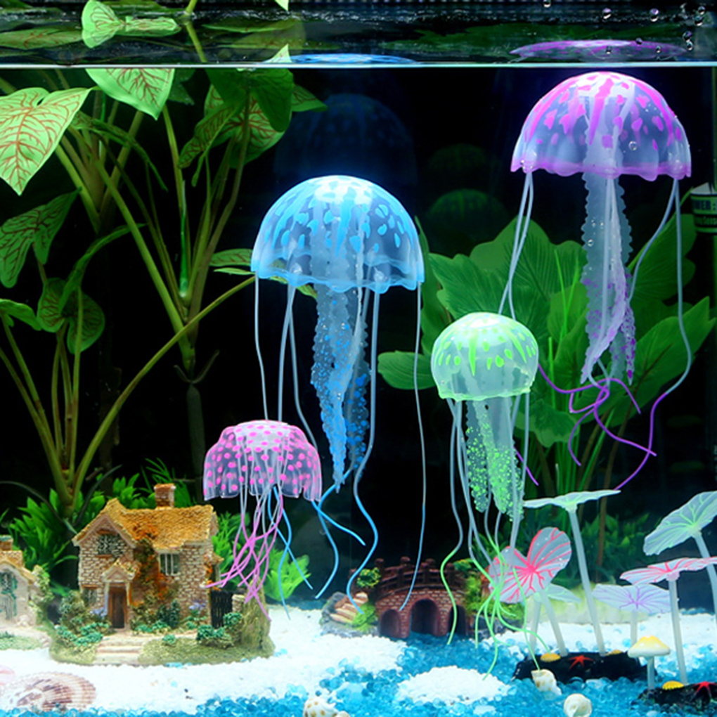 2019 Hot New Glowing Effect Fish Tank Decor Aquarium Artificial Silicone Jellyfish Mini Submarine Ornament
