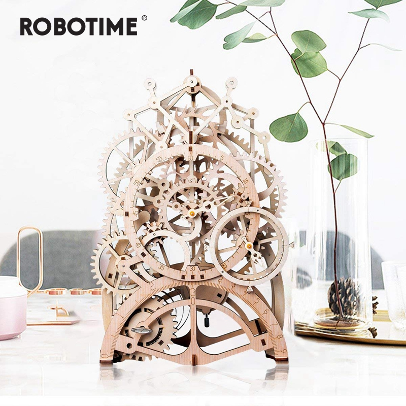 Robotime DIY Gear Drive Pendulum Clock by Clockwork  3D Wooden Model Building Kits Toys Hobbies Gift for Children Adult LK501-in Model Building Kits from Toys & Hobbies