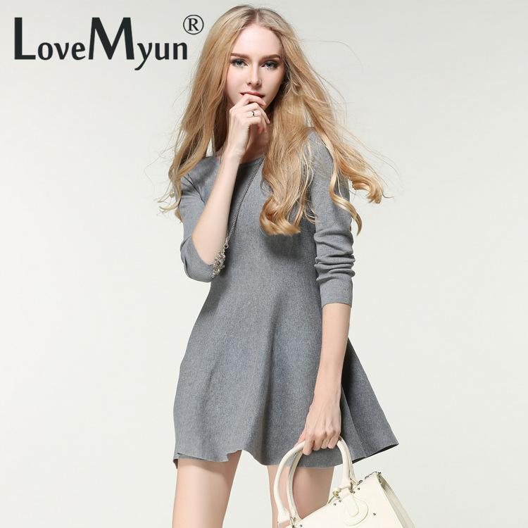 2016 Winter Women Knitted Dress Long Sleeve A-line Casual Bodycon Dresses Mini Black Friday Clothes Office Sweater Vestidos