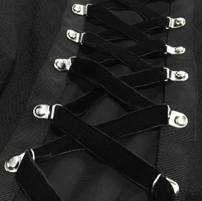 Ribbon Decorated Gothic Women Black Dress Japanese Harajuku Punk Cross Straps Tie Slim A Line Dress 3