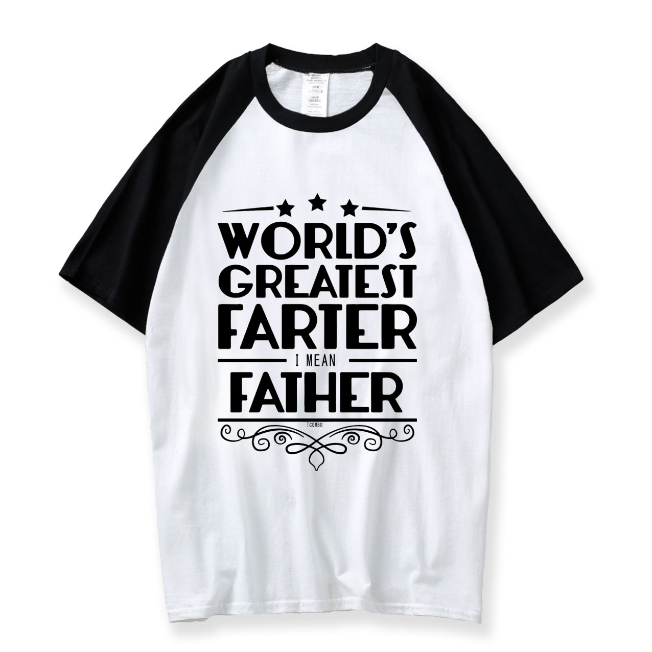 Gift For Father T-shirt World's Greatest Father Print Men T Shirt 2018 Summer 100% Cotton Raglan O Neck Funny Tshirts For Dads