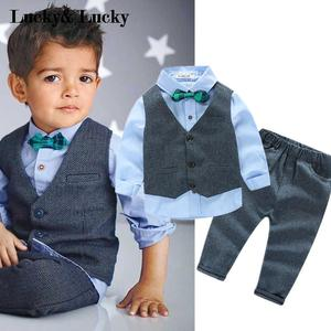 Image 4 - Children clothing gentleman kids clothes shirt+vest+pants and tie party baby boys clothes new boys clothing 3pcs/set