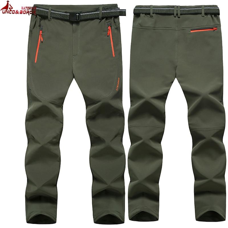 UNCO&BOROR Plus Size L~6XL 7XL 8XL Quick Dry UV Resistant Pant For Man Softshell Waterproof Trousers Outwear Men Joggers Pants