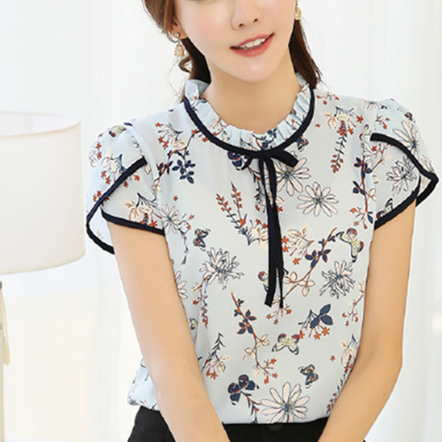 2017 Summer Floral Print Chiffon Blouse Ruffled Collar Bow Neck Shirt Petal Short Sleeve Chiffon Tops Plus Size Blusas Femininas 1