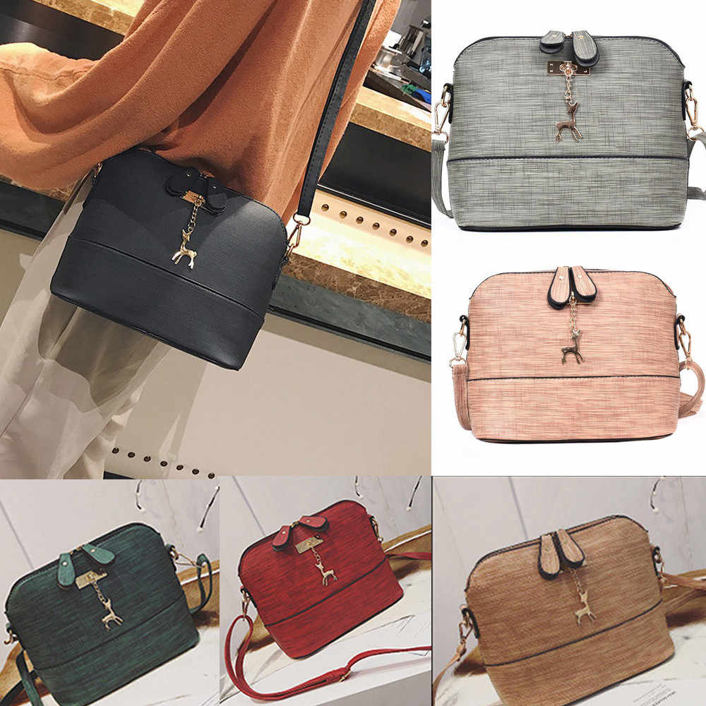 Fashion Small Shell PU Leather Handbag Women Messenger Bags Vintage Casual Packet Zipper Shoulder Bag High Quality 2018 10Jul 4