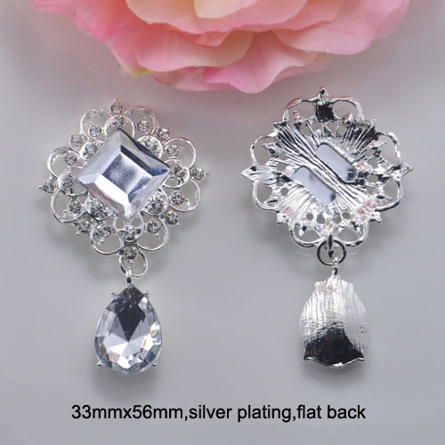 (J0668) bouton en métal strass 33mm x 56mm, plaqué argent ou or clair, dos plat-in Boutons from Maison & Animalerie    1