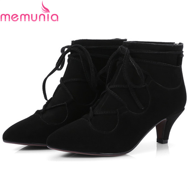 MEMUNIA Big size 34-42 fashion boots female cow suede high heels shoes woman ankle boots elegant party after zip leather boots memunia ankle boots for women high heels shoes woman pointed toe fashion boots female party flock solid big size 34 43