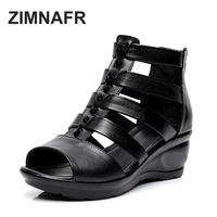2017 SUMMER ZIMNAFR NEW GENUINE LEATHER COMFORTABLE SOFT ROMAN STYLE WEDGE MOTHER SUMMER SHOES SANDALS