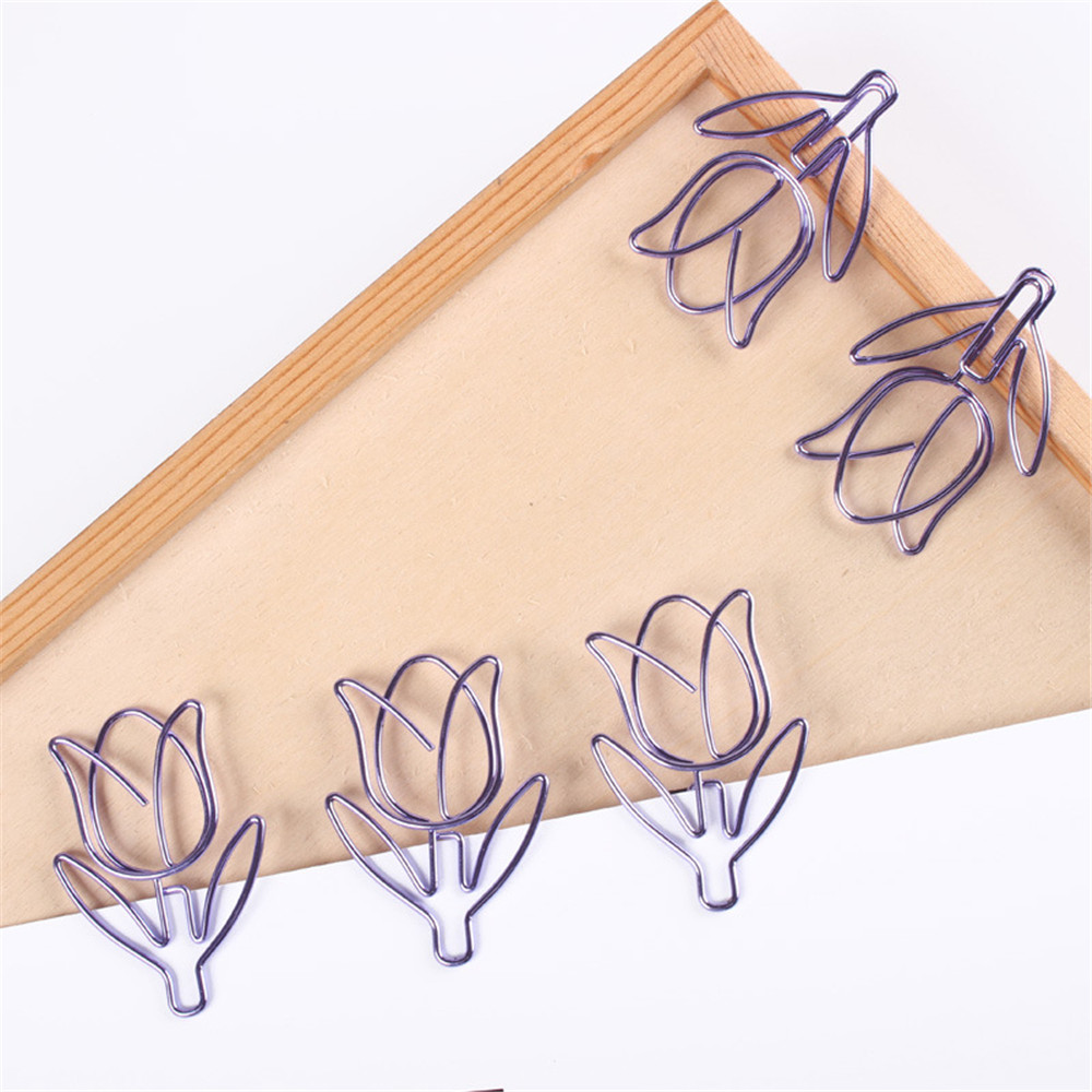 12pcs/box Purple Paper Clip Tulip Shaped Bookmark Stationery For DIY Diary Album Office Student Marking Clips