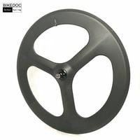 BIKEDOC 700c*20mm Carbon Tri Spoke Wheel Fixed Gear Wheels Bicycle Carbon Wheels 3 Spoke Wheel