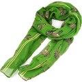 FS Caliente Verde Patrón de Cebra de Impresión Grande Mantón de La Bufanda Del Sarong Famoso Pañuelo Suave Regalo