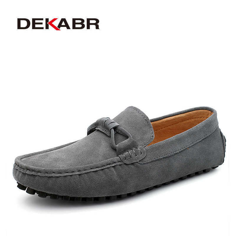 DEKABR New 2020 Men Cow Suede Loafers Spring Autumn Genuine Leather Driving Moccasins Slip on Men Casual Shoes Big Size 38~46