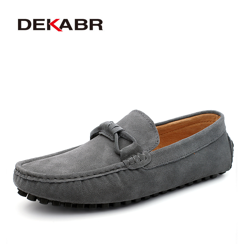 DEKABR New 2017 Men Cow Suede Loafers Spring Autumn Genuine Leather Driving Moccasins Slip on Men Casual Shoes Big Size 38~46 dxkzmcm new men flats cow genuine leather slip on casual shoes men loafers moccasins sapatos men oxfords
