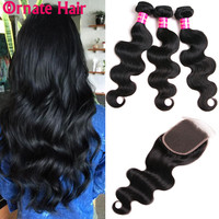 Ornate Human Hair Bundles With Closure Body Wave Bundles With Closure Brazilian Hair Bundle With Closure Non Remy Hair Extension