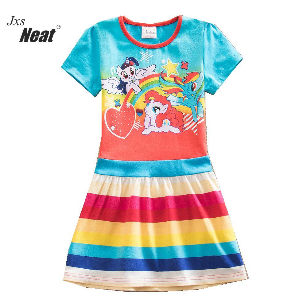 Аккуратная Девочка носить летнюю хлопчатобумажную детскую одежду девушка дети с рисунком печати платье девочка принцесса одежды SH9113