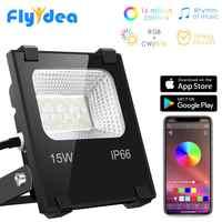 RGB LED Floodlight 15W Bluetooth4.0 APP Group Control Outdoor Smart Flood Light IP66 Waterproof Garden Color Changing Spotlight