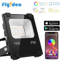 RGB Светодиодный прожектор 15 Вт Bluetooth 4,0 приложение группа управления открытый умный прожектор IP66 водонепроницаемый сад цвет меняющийся прож...