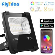 RGB LED Floodlight 15Wบลูทูธสมาร์ทกลางแจ้งน้ำท่วม110V 220V IP66สีกันน้ำเปลี่ยนSpotlight APPกลุ่มควบคุม