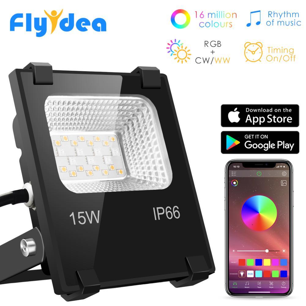 RGB LED Floodlight 15W Bluetooth Outdoor Smart Flood Light 110V 220V IP66 Waterproof Color Changing Spotlight APP Group Control